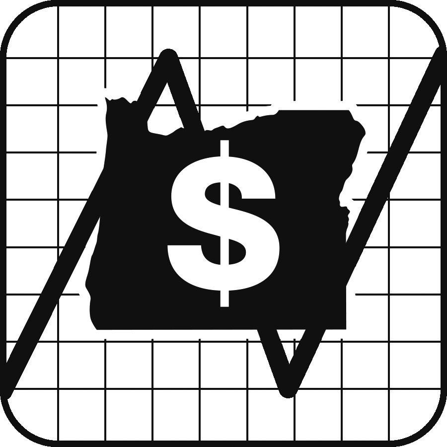 Icon: Oregon, with a dollar sign, over a backdrop of a chart going up and down