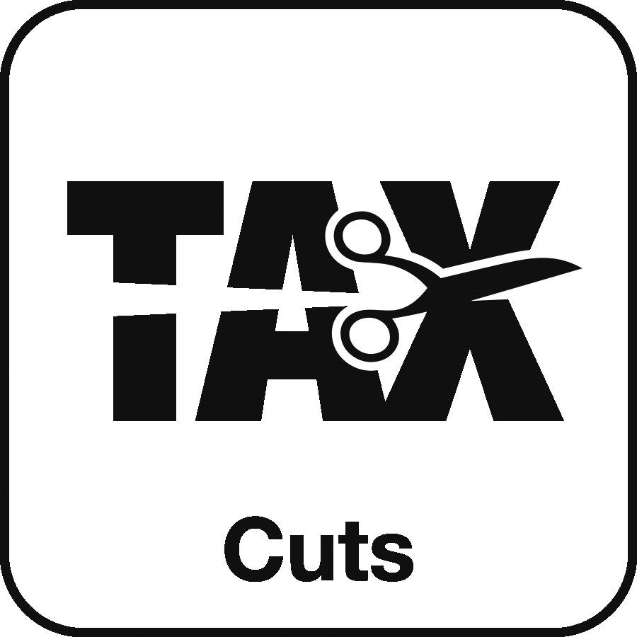 Icon: the word TAX being cut with a pair of scissors, and the label Cuts beneath