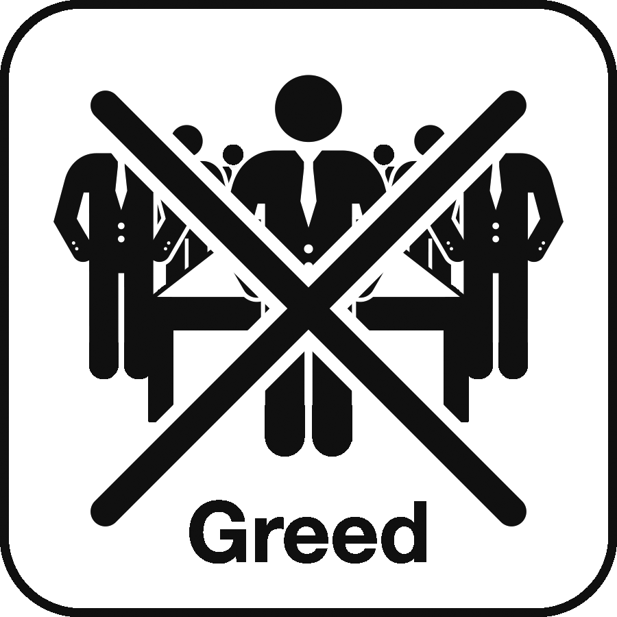 Icon: image of people in business suits with a large X in front and the label Greed beneath
