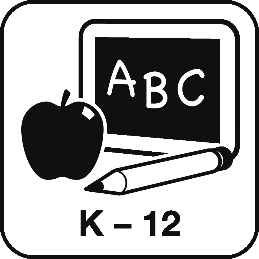 Icon: image of a chalkboard saying ABC, an apple and a pencil, with the label K-12