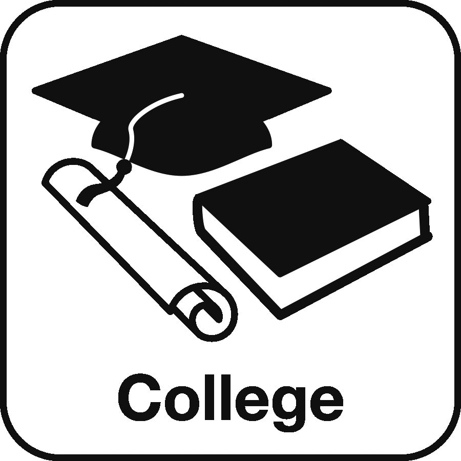 Icon: image of a graduation cap, book and diploma and the label College