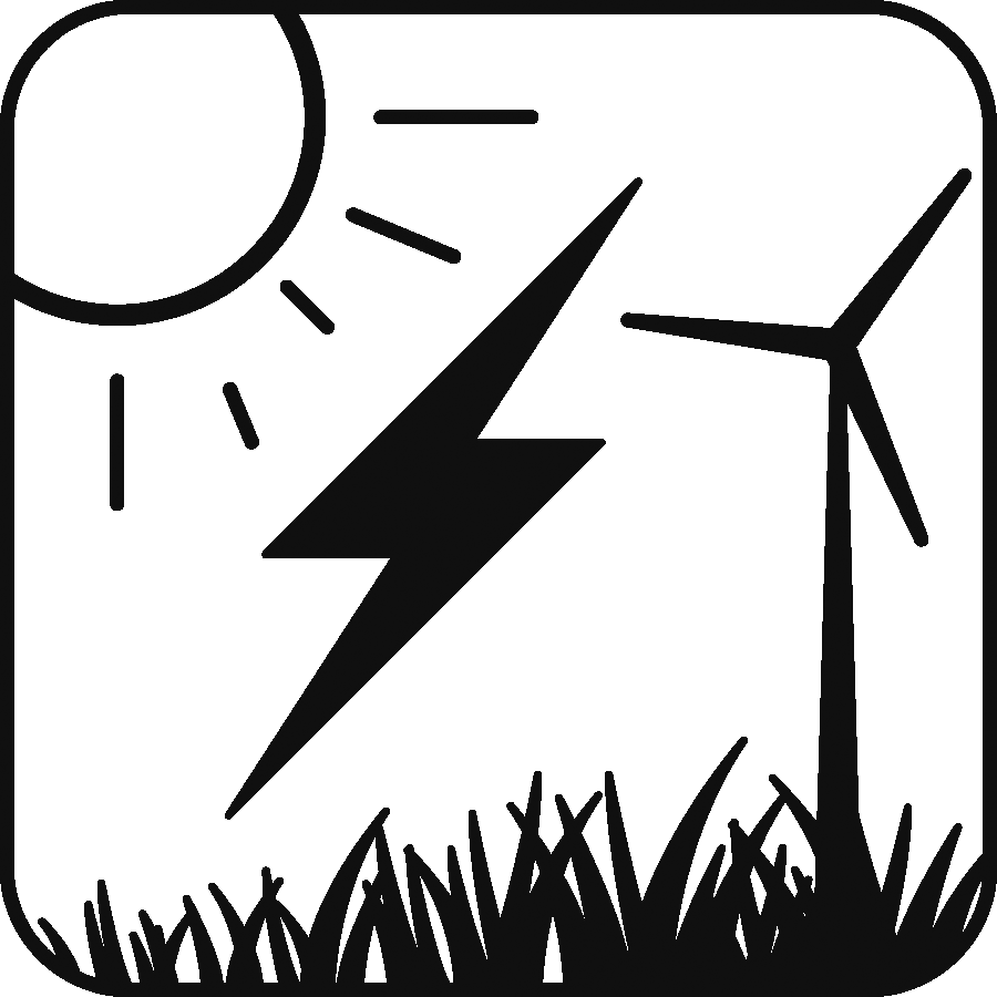 Icon: image of the sun, a wind turbine, and apower/thunderbolt icon with grass beneath