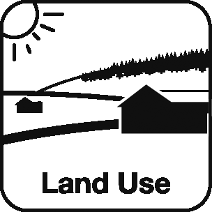 Icon: image of the sun, a forest and a far with a house and barn and the label Land Use