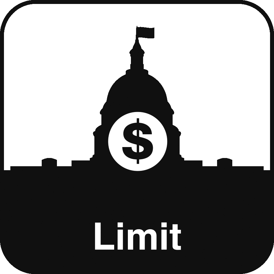 Icon: a dollar sign superimposed over the US Capitol Building with the label Limit beneath