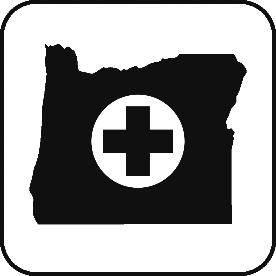 Icon: the state of Oregon, with a plus sign in the center