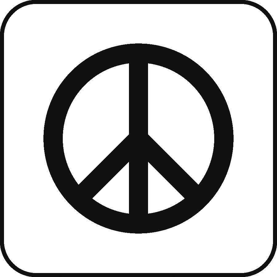 Icon: peace symbol (anti-nuclear circle with 3 lines)