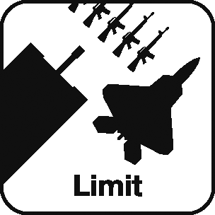 Icon: guns, ammunition, and a fighter jet with the label Limit beneath