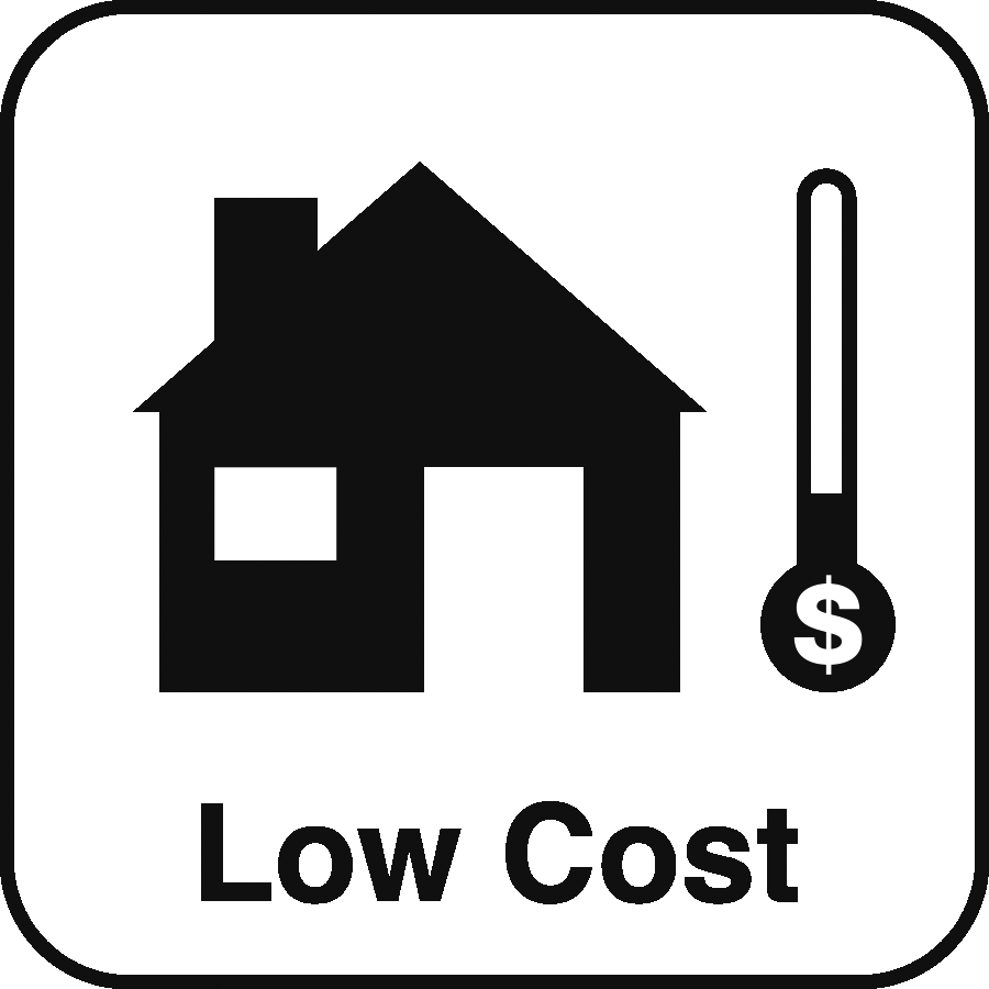 Icon: a house, a dollar sign thermometer running low, and the label Low Cost beneath