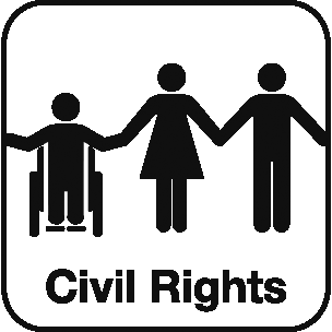 Icon: person in wheelchair holding hands with person in dress holding hands with a person in pants and the label Civil Rights beneath